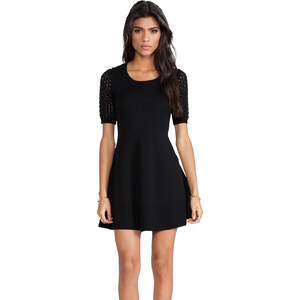 Shoshanna Cable Denisa Sweater Dress in Black