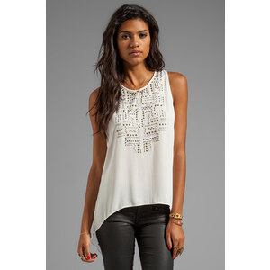 BCBGMAXAZRIA Sleeveless Top in Ivory