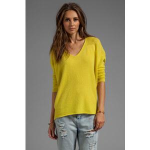 Velvet by Graham & Spencer Clare Cashmere Classic Long Sleeve V-Neck in Yellow