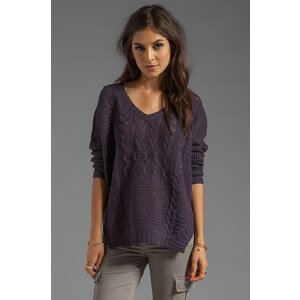 Velvet by Graham & Spencer Nadya Patchwork Cable Loose V-Neck Sweater in Purple