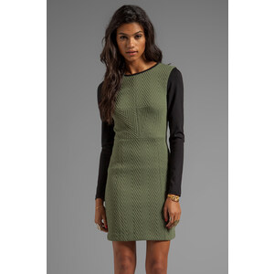 Tibi Quilted Zig Zag Fitted Dress in Olive