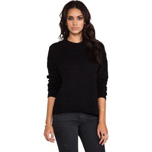 LNA Braided Turtleneck Sweater in Black