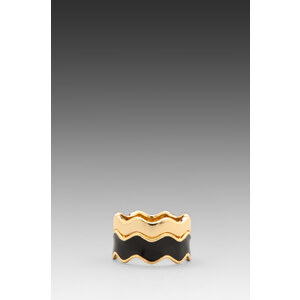 Gorjana Zig Zag Enamel Double Ring Set in Black
