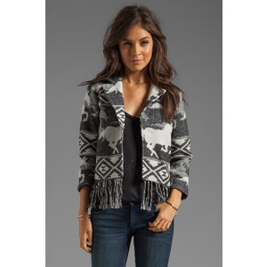 RVCA Van Zant Wool Blend Jacket with Wild Horses Jacquard Artwork in Gray