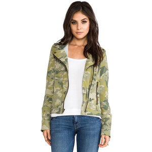 Chaser EXCLUSIVE Chaser Fleece Moto Jacket in Sage