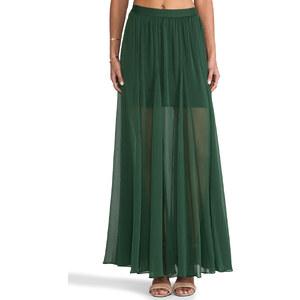Alice + Olivia Adme Long Godet Maxi Skirt in Green
