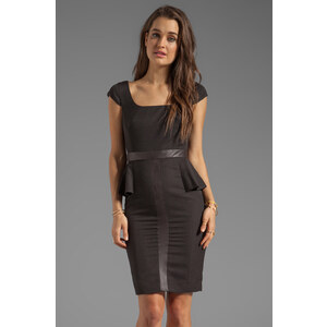 Jay Godfrey Clement Peplum Dress with Vegan Leather Trim in Black
