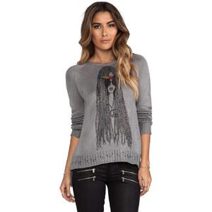 Lauren Moshi Helena Foil Hippie Sweater in Gray