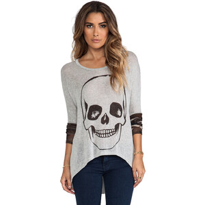 Lauren Moshi Deb Skull Face Contrast Cuff Asymmetrical Sweater in Gray