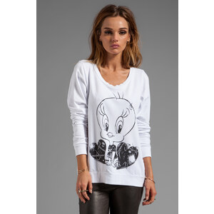 Lauren Moshi Jet Tweetybird Pullover Sweatshirt in White