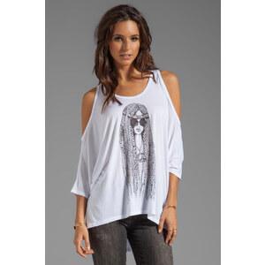 Lauren Moshi Macy Large Hippie Oversized Open Shoulder Top in White