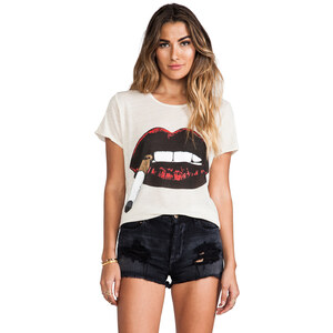 Lauren Moshi Edda Color Cig Lip Vintage Tee in Cream