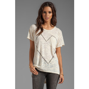 Lauren Moshi Debbie Large Nail Heart Boyfriend Pocket Tee in Cream