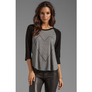 Lauren Moshi Drew Large Nail Heart Draped Sleeve Raglan Top in Gray