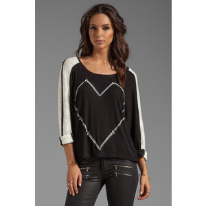 Lauren Moshi Nellie Large Nail Heart Rib Sweater in Black