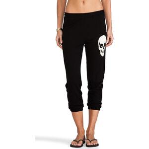 Lauren Moshi Birdy Small Skull Face Crop Sweat Pant in Black
