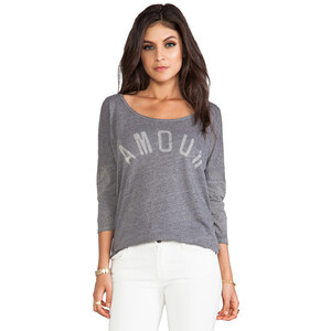 SUNDRY Amour 3/4 Sleeve Tee in Gray