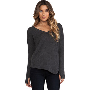 Feel the Piece Cashmere Asym V Neck Sweater in Charcoal