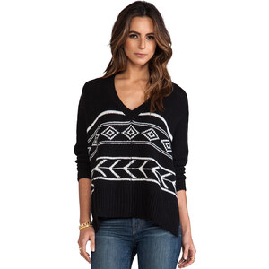 Feel the Piece Intarsia Poncho Sweater in Black