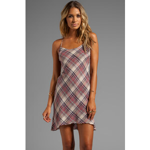 James Perse Bias Plaid Slip Dress in Taupe