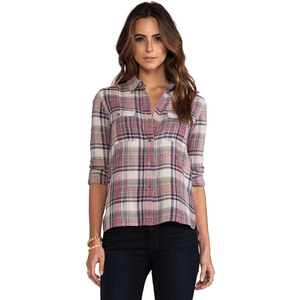 James Perse Shorteditch Plaid Pocket Shirt in Brown