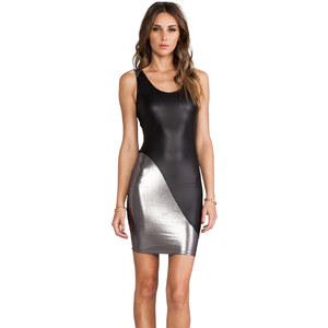 Donna Mizani Metallic Scoop Back Dress in Black