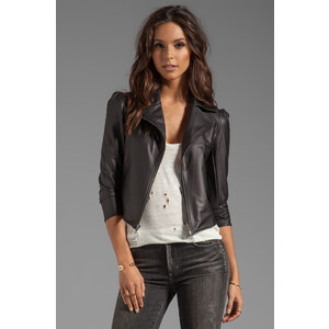 Donna Mizani Leatherette Moto Jacket in Black
