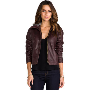 Jack by BB Dakota Kaia Hooded Faux Leather Jacket in Burgundy