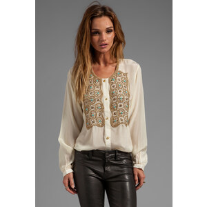 Karina Grimaldi Beaded Hera Top in Ivory