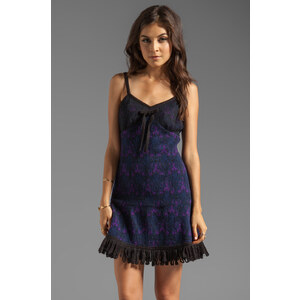 Anna Sui RUNWAY Stained Glass Knit Jacquard Dress in Navy
