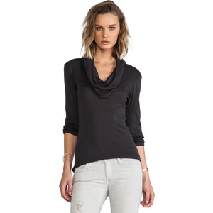 Michael Stars 3/4 Sleeve Cowl Neck Top in Gray
