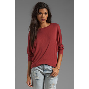 Michael Stars 3/4 Sleeve Wide Neck Dolman in Rust