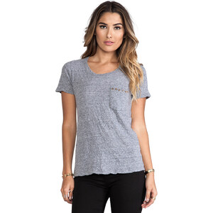 MONROW Studded Pocket Top in Gray