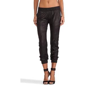 MONROW Vegan Leather Sweats in Black