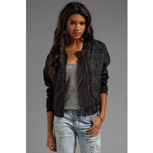 Bardot Quilted Bomber Jacket in Black