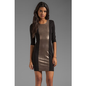 Mason by Michelle Mason Leather Inset Dress in Black