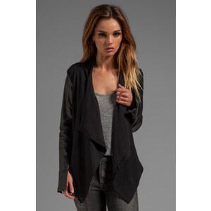 Heather Leather Sleeve Cardi in Black