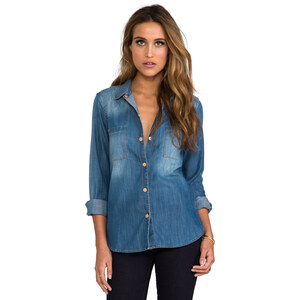 7 For All Mankind Slim Shirt in Blue