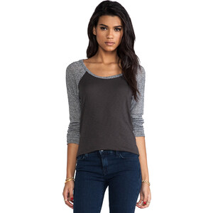 Michael Stars Long Sleeve Scoop Neck Raglan Hi-Low Oxide