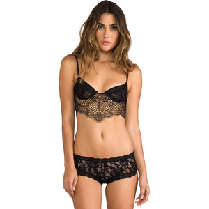 SKIVVIES by For Love & Lemons Bat-Your-Lashes Underwire Bra in Black