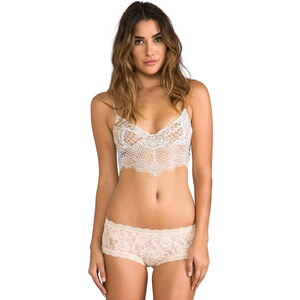 SKIVVIES by For Love & Lemons Bat-Your-Lashes Underwire Bra in Beige