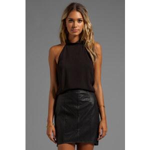 For Love & Lemons Amelie Button Collar Sleeveless Top in Black