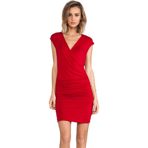Bobi Short Sleeve V-Neck Dress in Red