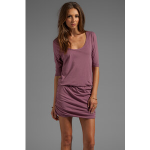 Bobi Supreme Jersey Long Sleeve Mini Dress in Mauve