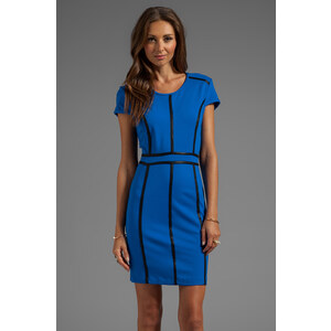 Bobi Body Con Dress with Leather Trim in Blue