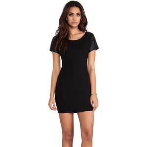 Bobi Leather Sleeve Dress in Black