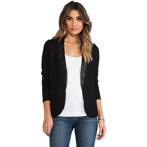 Bobi Blazer with Leather Detail in Black