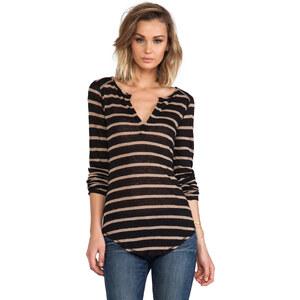 Bobi Stripe Long Sleeve Henley in Black