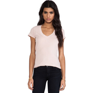 James Perse Relaxed Casual Mini Jersey V-Neck in Peach