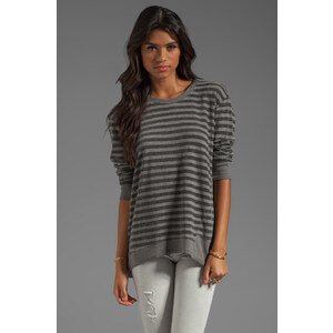 Wilt Stripe Back Slant Sweatshirt in Charcoal